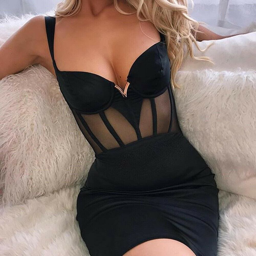 The Best 2019 Fashion New Women Summer Sexy Casual Bodycon Short Mini Dress See Through Sleeveless V Neck New Sheath Dress Online - Source Silk