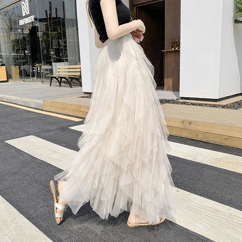 The Best 2019 Fashion Summer Women Boho Lace Tiered High Waist New Beach Long Skirt Sundress Holiday Travel Solid Casual Skirt Online - Source Silk