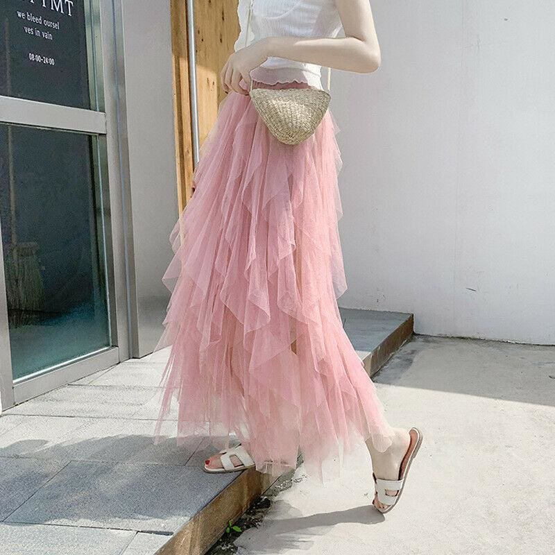 The Best 2019 Fashion Summer Women Boho Lace Tiered High Waist New Beach Long Skirt Sundress Holiday Travel Solid Casual Skirt Online - Hplify
