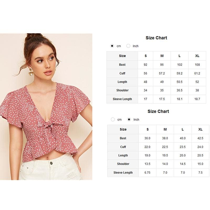 The Best 2019 Fashion Summer Women Ruffle Polka Dot Tops Ladies Casual Hem Tie Front Top Bow V Neck Blouse Tops Shirt Online - Source Silk