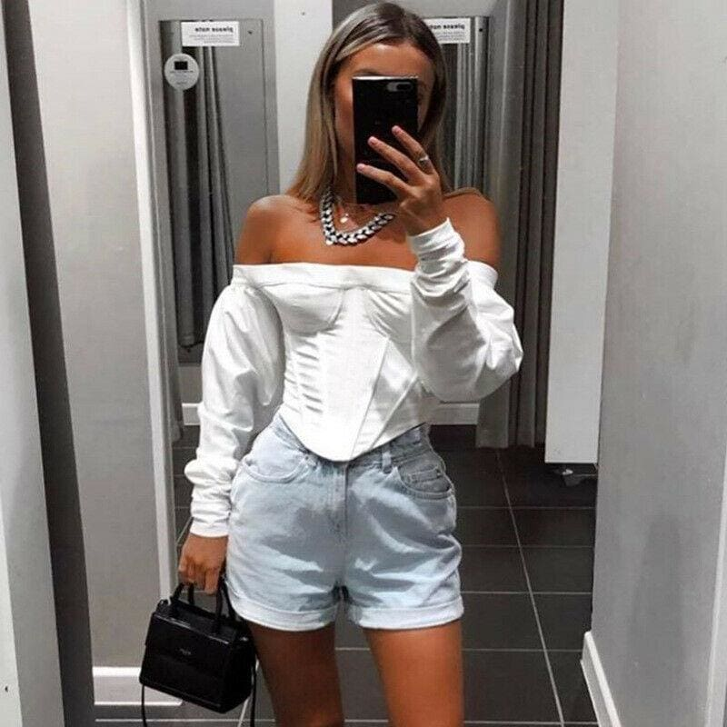 The Best 2019 Fashion Trend Women Cropped Tops Casual Long Sleeve Slash Neck Off Shoulder T shirts Party HOT Skinny Pre-fall New Tees Online - Source Silk