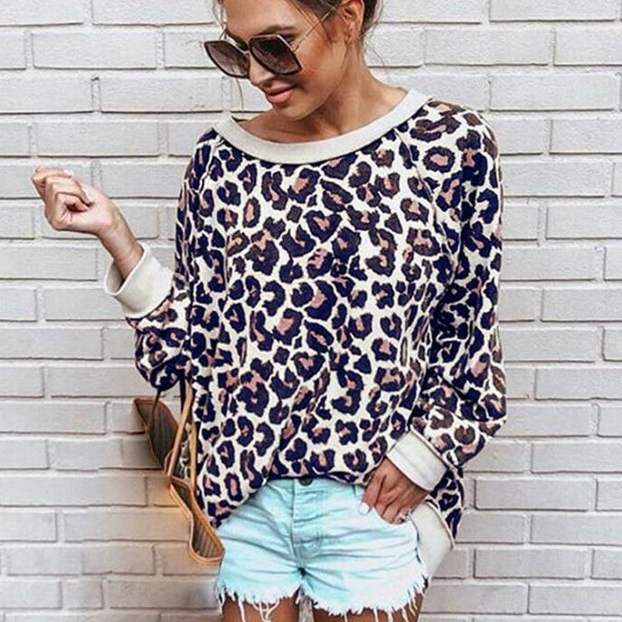 The Best 2019 Fashion Women Autumn Long Sleeve One Shoulder Top Leopard Tee Shirt Femme Ladies Tops Shirt Streetwear Online - Source Silk
