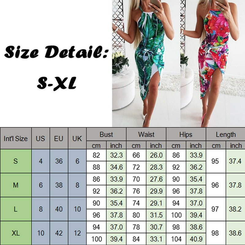 The Best 2019 Fashion Women Bohemian Floral Dress Summer Party Beach Holiday Sleeveless Sexy Slim Fit Dresses Sundress Online - Hplify