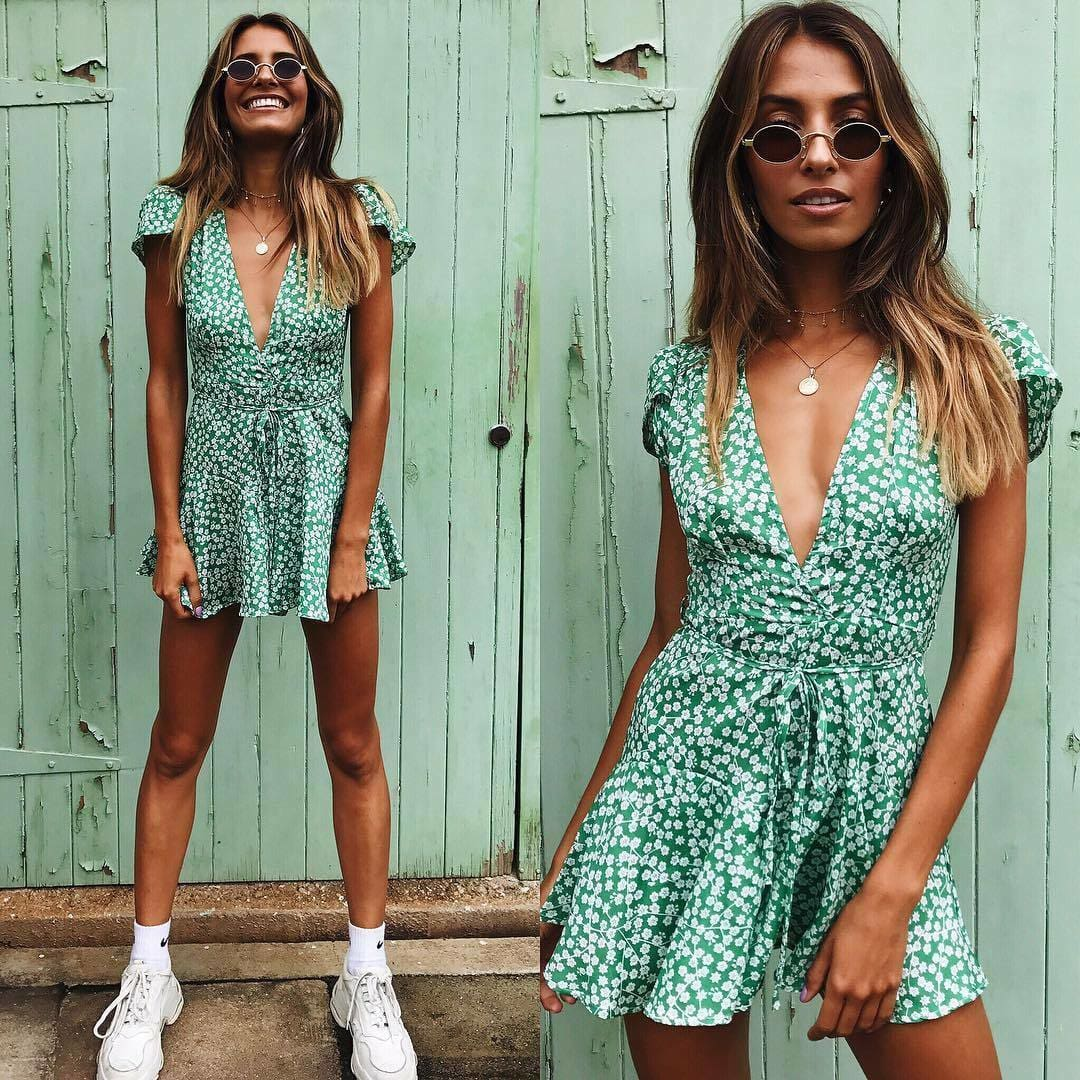 The Best 2019 Fashion Women Dress Ladies Boho V-neck Floral Printing Summer Party Evening Beach Short Mini Dresses Ruffles Sundress Online - Source Silk