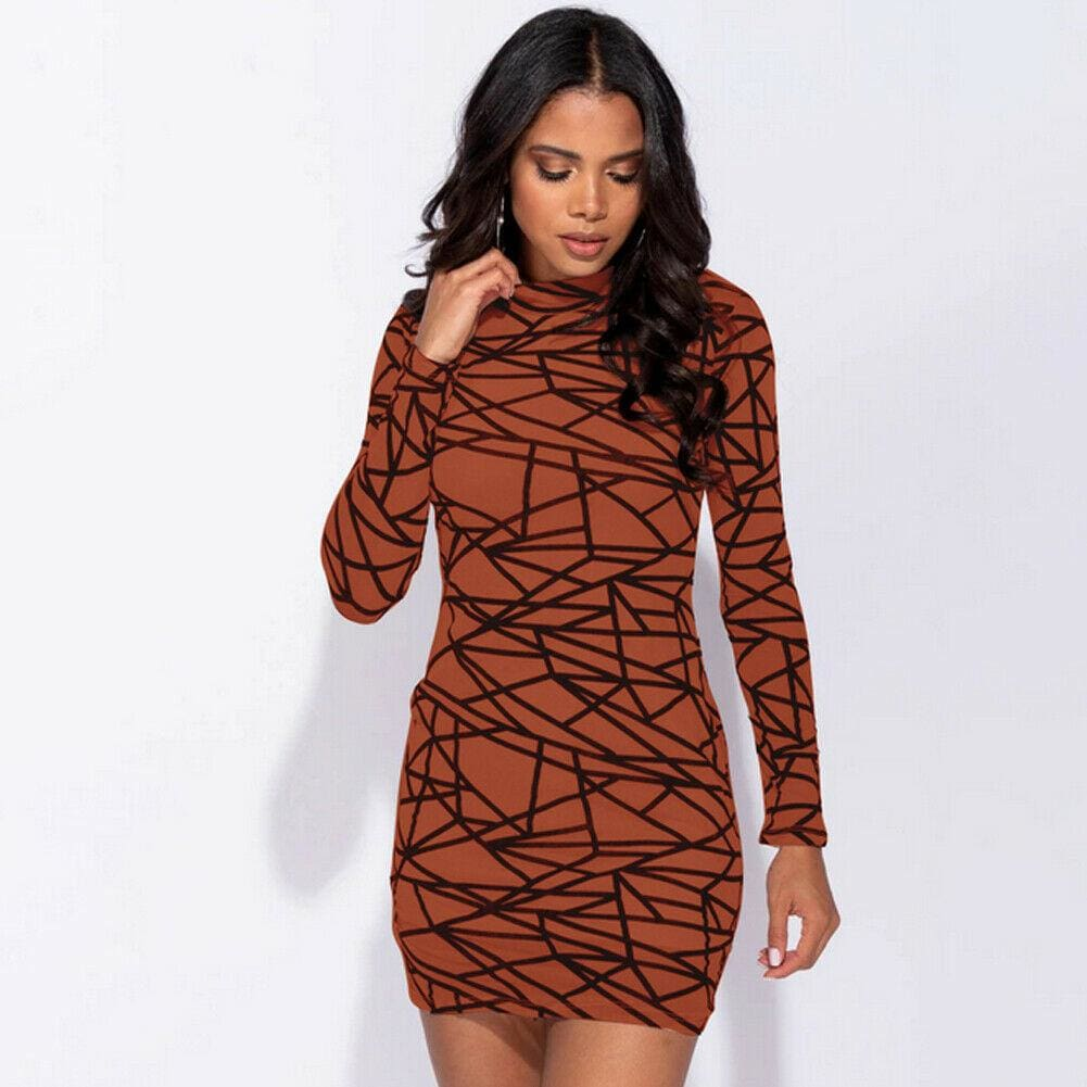 The Best 2019 Fashion Women Dress Sexy Perspective Dress Bodycon Slim Striped Pencil Dress Club Turtleneck Long Sleeve Party Mini Dresses Online - Source Silk