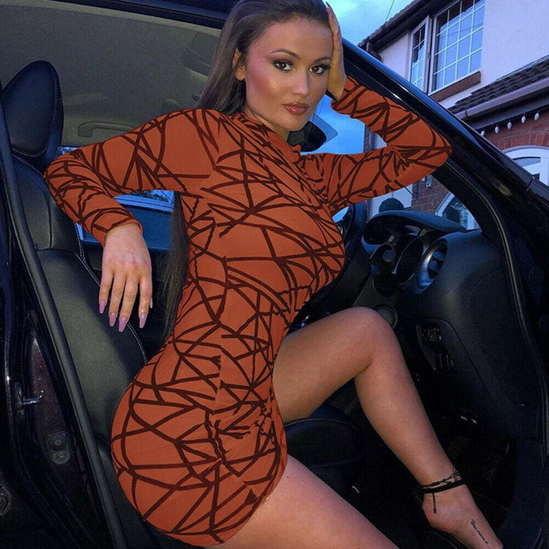 The Best 2019 Fashion Women Dress Sexy Perspective Dress Bodycon Slim Striped Pencil Dress Club Turtleneck Long Sleeve Party Mini Dresses Online - Hplify