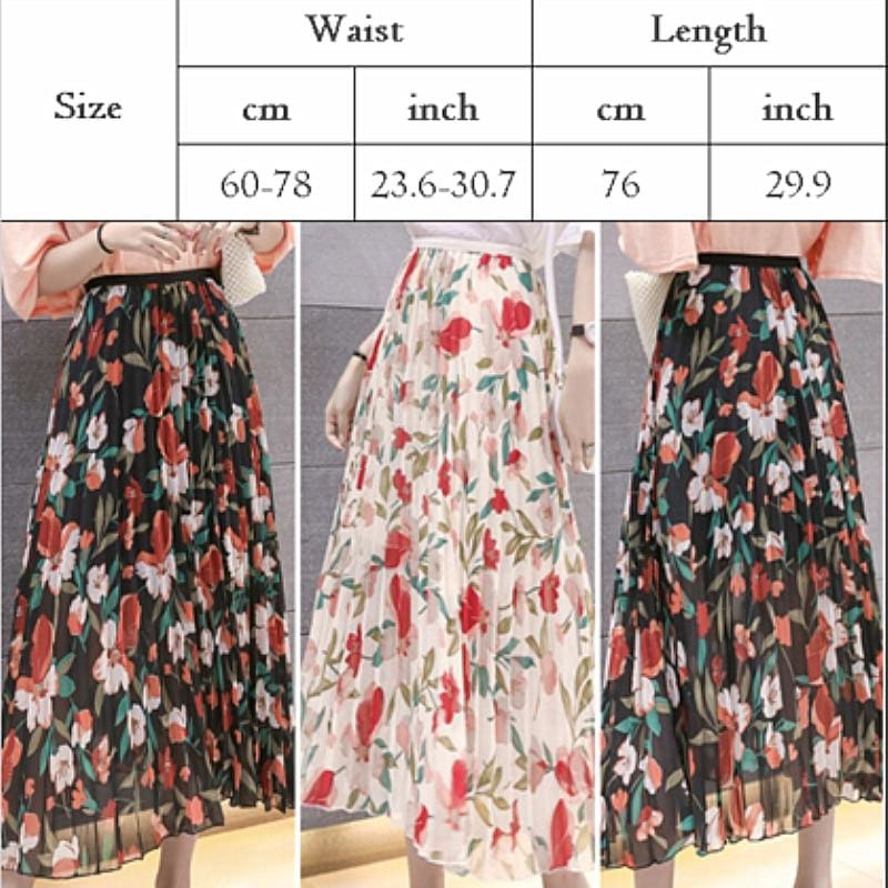 The Best 2019 Fashion Women Floral Pleated Boho Midi Skirt High Waist Ladies Casual Summer Party Cocktail Wrap Skirt Sundress Online - Hplify