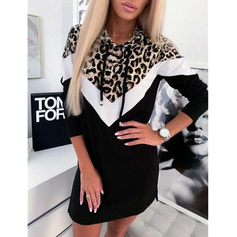 Buy Cheap 2019 Fashion Women Girls Long Sleeve Straight Hoodie Sweatshirt  Dress Ladies Leopard Autumn Casual Slim Pullover Dress Online - Hplify