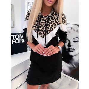 2019 Fashion Women Girls Long Sleeve Straight Hoodie Sweatshirt Dress Ladies Leopard Autumn Casual Slim Pullover Dress - Womens Clothing