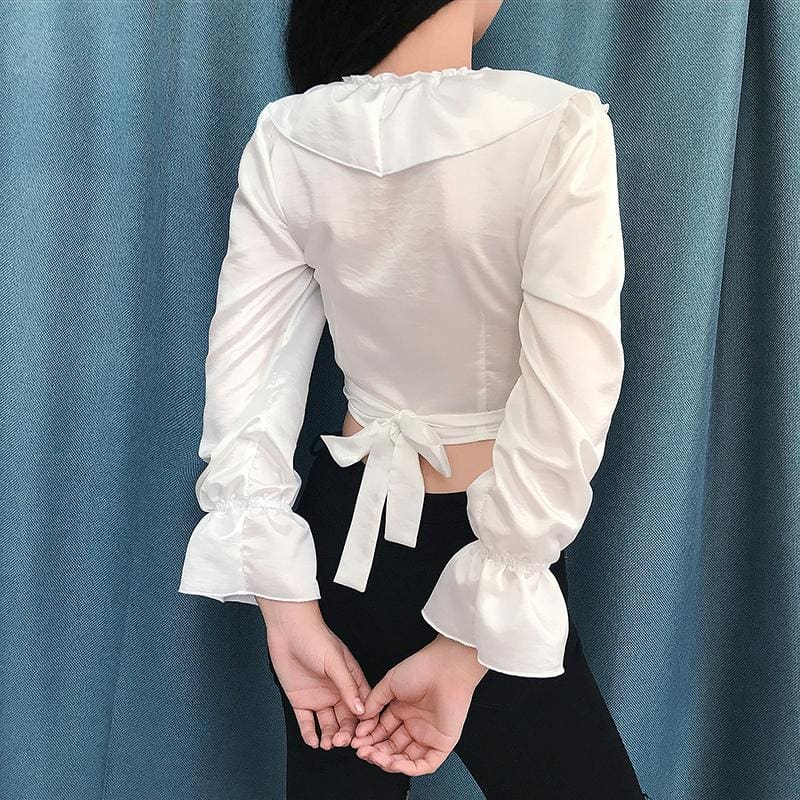 The Best 2019 Fashion Women Ladies Glossy V-Neck Ruffle Long Sleeve Blouse Tops Casual Crop Top Shirt Outwear Streetwear Online - Hplify