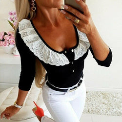 The Best 2019 Fashion Women Lady Sexy Low Cut Long Sleeve Lace V Neck Slim Fit T-Shirt Ladies Autumn Casual Tops Shirt Online - Hplify