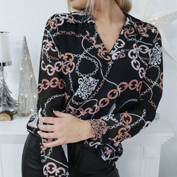 The Best 2019 Fashion Women Long Sleeve V-neck Loose Top Shirts OL Ladies Floral Casual Loose Blouse Women Clothes Online - Hplify