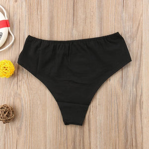 2019 Fashion Women Sexy Intimates Brazilian Cheeky Bottom Bikini Thong Ruched Briefs Letter Panties Underwear Bikini Shorts - Hplify