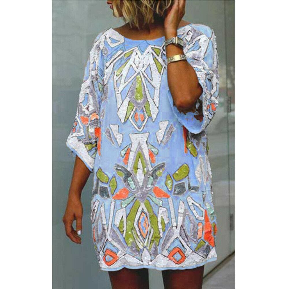 2019 Fashion Women Summer Bohemian Printed Beach Casual Loose Mini Dress Casual Loose Mini Shirt Beach Dress - Blue / S - Dresses