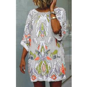 2019 Fashion Women Summer Bohemian Printed Beach Casual Loose Mini Dress Casual Loose Mini Shirt Beach Dress - Gray / S - Dresses
