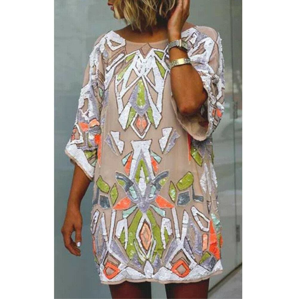 2019 Fashion Women Summer Bohemian Printed Beach Casual Loose Mini Dress Casual Loose Mini Shirt Beach Dress - Khaki / S - Dresses