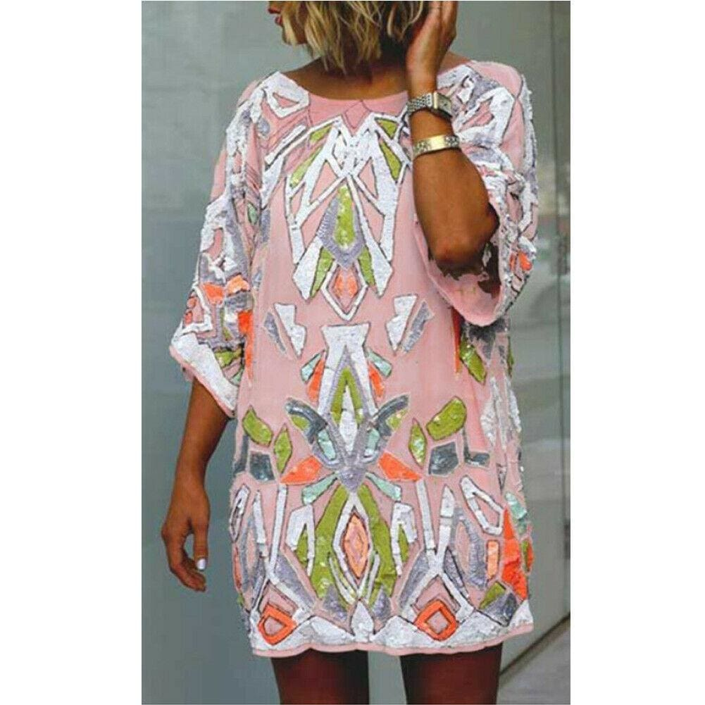 2019 Fashion Women Summer Bohemian Printed Beach Casual Loose Mini Dress Casual Loose Mini Shirt Beach Dress - Pink / S - Dresses