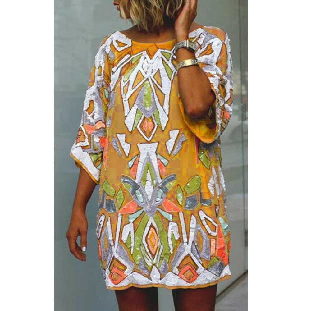 2019 Fashion Women Summer Bohemian Printed Beach Casual Loose Mini Dress Casual Loose Mini Shirt Beach Dress - Yellow / S - Dresses