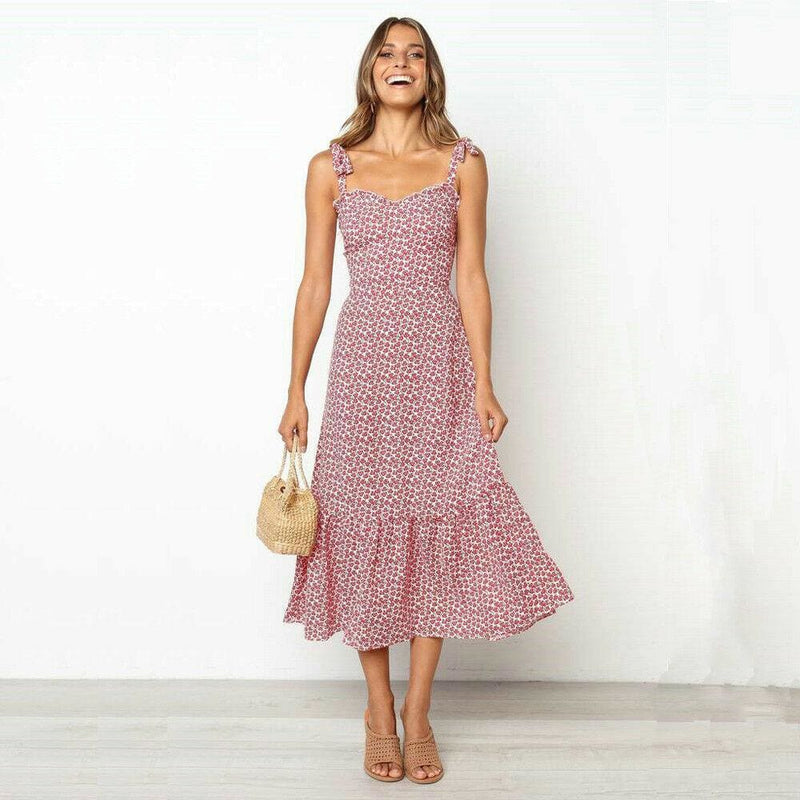 The Best 2019 Fashion Women Summer High Waist Dress New Ladies Boho Floral Sleeveless Dress Holiday Summer Party Beach Sundress Online - Hplify