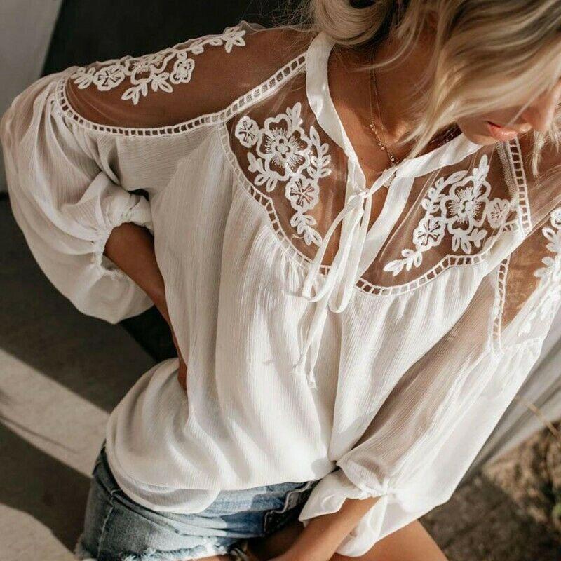 The Best 2019 Fashion Women Summer Lace Casual Tops Sexy Ladies Hollow Long Sleeve Blouse Shirt Costume Holiday Summer Clothes Online - Source Silk