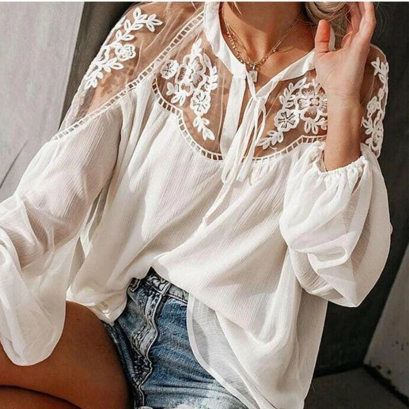 The Best 2019 Fashion Women Summer Lace Casual Tops Sexy Ladies Hollow Long Sleeve Blouse Shirt Costume Holiday Summer Clothes Online - Hplify