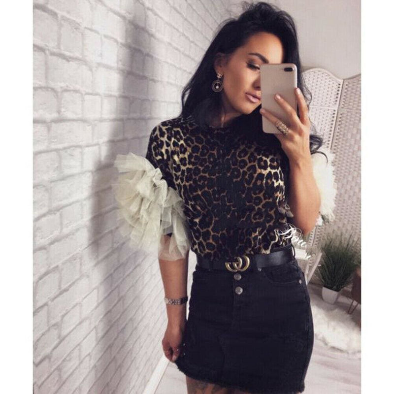 The Best 2019 Fashion Women Summer Ruffle Short Sleeve T Shirt Ladies Loose Casual Leopard Tops Shirt Holiday Outwear Streetwear Online - Hplify