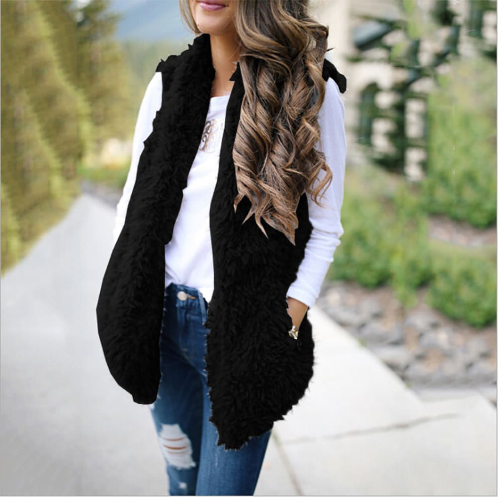 2019 Fashion Womens Autumn Winter Warm Sleeveless Fleece Jacket Ladies Cashmere Long-Haired Vest Coat Outwear - Black / S - Womens Clothing