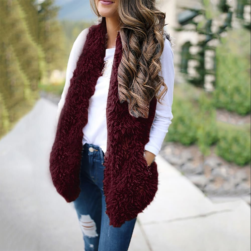 2019 Fashion Womens Autumn Winter Warm Sleeveless Fleece Jacket Ladies Cashmere Long-Haired Vest Coat Outwear - Burgundy / S - Womens