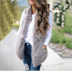 2019 Fashion Womens Autumn Winter Warm Sleeveless Fleece Jacket Ladies Cashmere Long-Haired Vest Coat Outwear - Gray / S - Womens Clothing