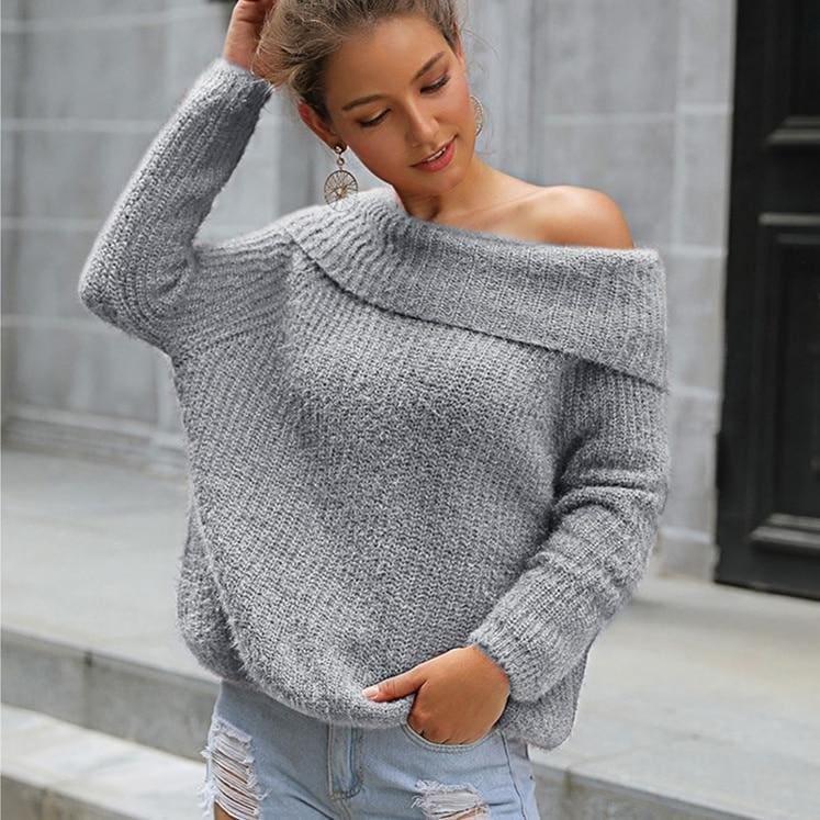 The Best 2019 Fashion Women's Long Sleeve Knitted Sweaters Jumper Off Shoulder Slash Neck Loose Knitwear Autumn Winter Warm Tops Online - Source Silk