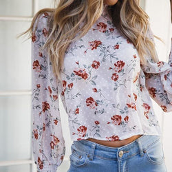 The Best 2019 Fashion Women's Loose Crop Tops Sheer Mesh See Through Floral Summer Holiday Ladies Crew Neck Tops Blouse Online - Hplify