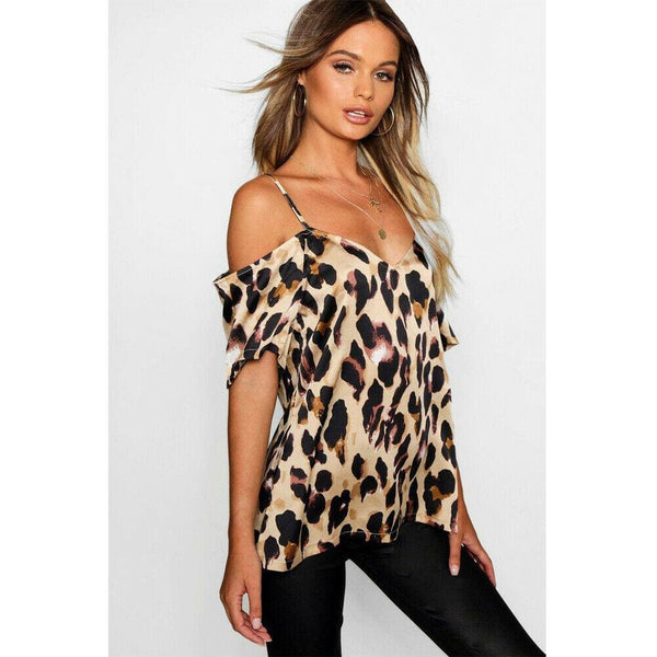 The Best 2019 Fashion Women's Off Shoulder Tops Short Sleeve Leopard Print Spaghetti Strap Loose Blouse Shirt Online - Hplify