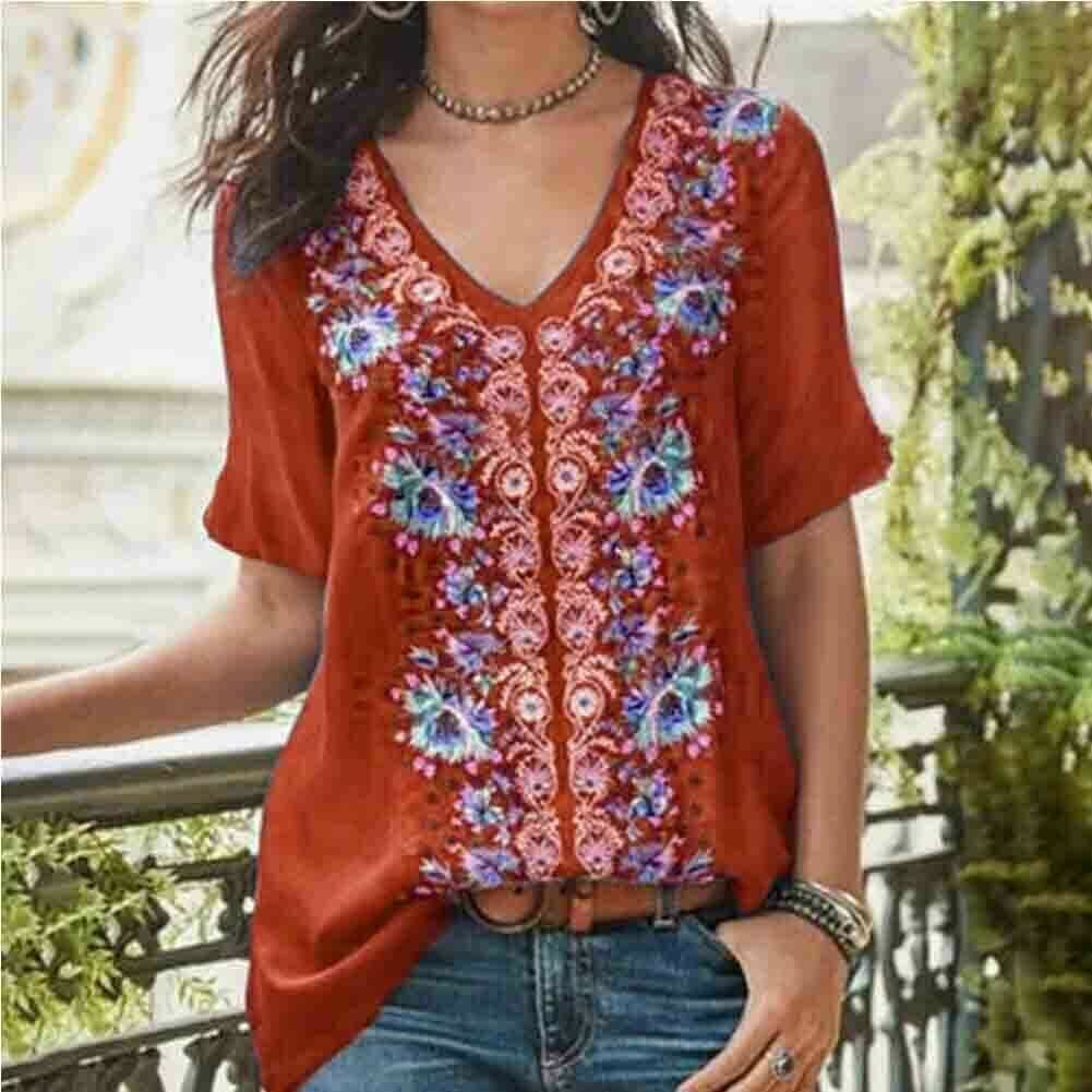 The Best 2019 Fashion Women's Summer Boho Floral Tunic Top V Neck Plus Size Ladies Casual Loose Tops T-Shirt Streetwear Online - Source Silk