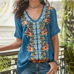 The Best 2019 Fashion Women's Summer Boho Floral Tunic Top V Neck Plus Size Ladies Casual Loose Tops T-Shirt Streetwear Online - Hplify