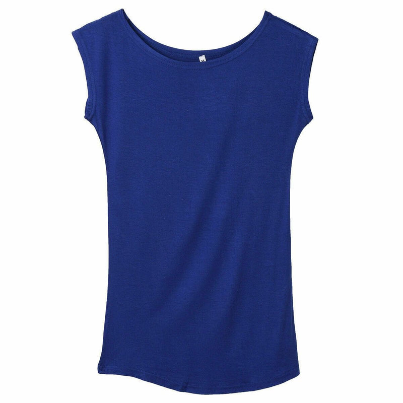 The Best 2019 Girls Women's Neck Sleeveless Long T-Shirts Modal Tops Basic Solid White Black Blue Gray Tee Shirt Hot Online - Hplify