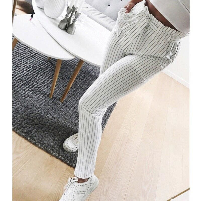 Buy Cheap 2019 New Elastic High Waist Striped Harem Pants Women Stringy Casual Slim Fit Long Pants Skinny Female Trousers Hot Sale Online - Hplify