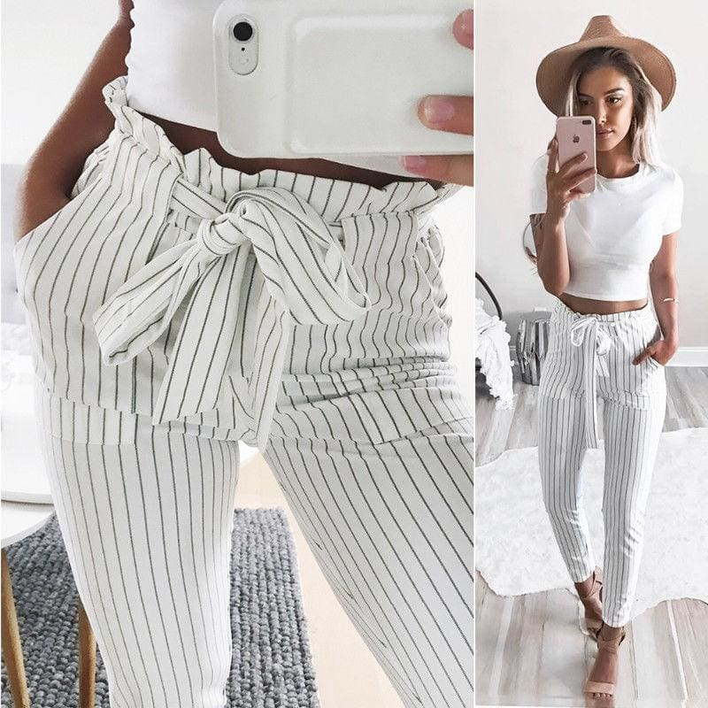 The Best New Elastic High Waist Striped Harem Pants Women Stringy Casual Slim Fit Long Pants Skinny Female Trousers Online - Hplify