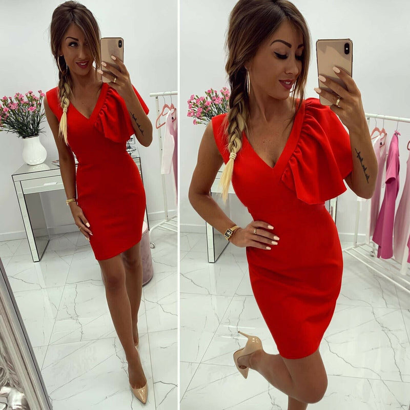 The Best 2019 New Elegant Women's Business Office Dress Bridesmaid Wedding Party Cocktail Mini V Neck Formal Bodycon Sheath Pencil Dress Online - Hplify