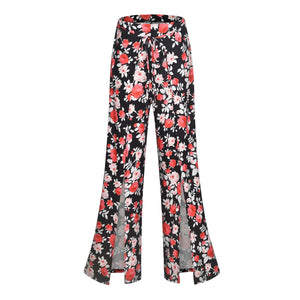 2019 New Fashion Women Boho Floral Flare Long Pants Palazzo Baggy Wide Leg Summer Casual Trousers Loose Culottes - C / S - Bottoms
