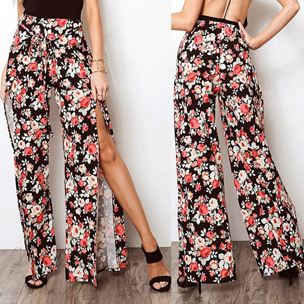 2019 New Fashion Women Boho Floral Flare Long Pants Palazzo Baggy Wide Leg Summer Casual Trousers Loose Culottes - Bottoms