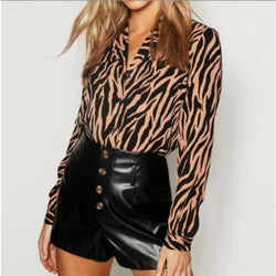 The Best 2019 New Fashion Women Casual Chiffon Tops Shirt Loose Long Sleeve V-Neck Shirt Leopard Print Casual Button Tops Tee Online - Hplify