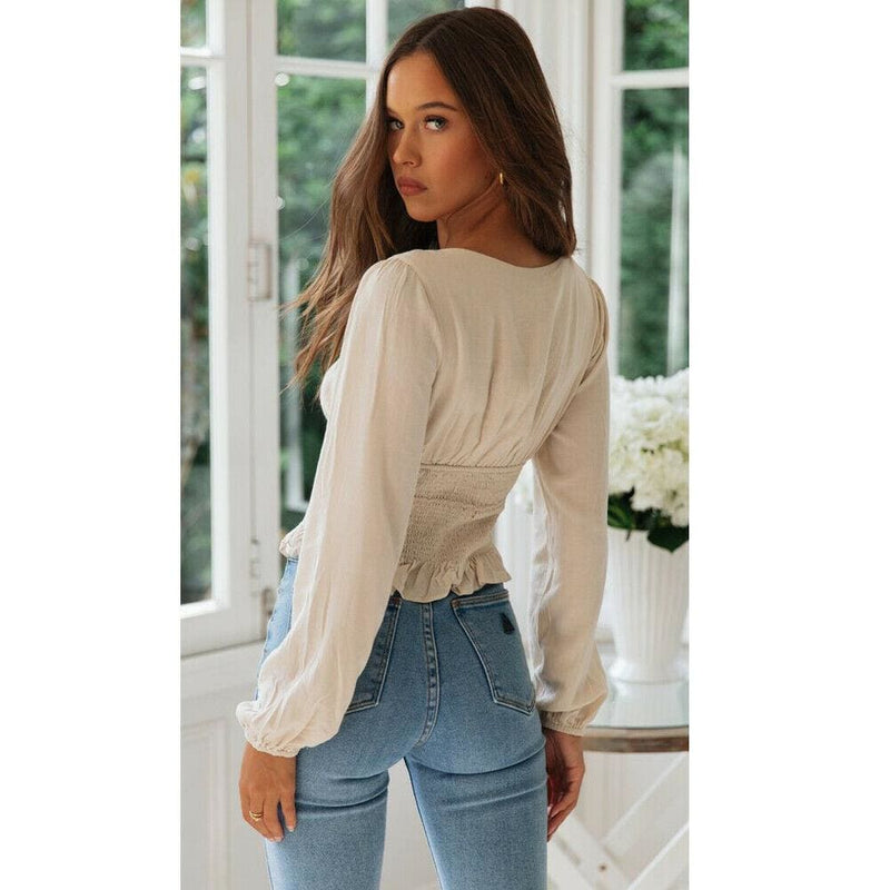 The Best 2019 New Fashion Women Ladies Summer Beach Slim Long Sleeves Crop Tops Casual Fitness Loose T-Shirt Tops Online - Hplify