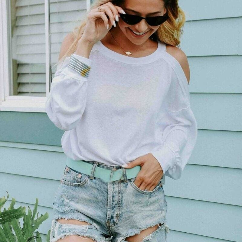 The Best 2019 New Fashion Women Ladies Summer Pre-fall Long Sleeve Shirt Loose Solid Casual Loose Tops T-Shirt Female Clothing Online - Hplify