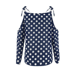 The Best 2019 New Fashion Women Polka Dot Print V Neck T shirt Lady Summer Cold Shoulder Casual Loose T-Shirt Tops Tee Streetwear Online - Hplify