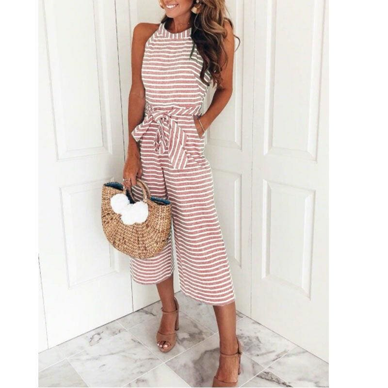 The Best 2019 New Fashion Women Stripe Bow Sashes Jumpsuit V-neck Romper Wide Leg Loose Trouser Jumpsuit Holiday Streetwear Online - Hplify