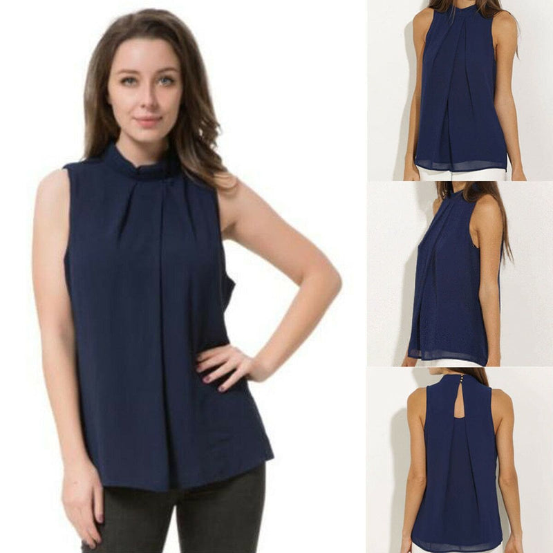 The Best 2019 New Fashion Women Summer Vest Chiffon Sleeveless Casual Tank Tops Elegant Ladies Shirt Holiday Clothing Online - Hplify
