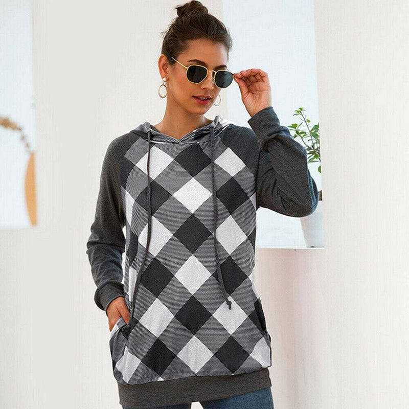 The Best 2019 New Fashion Women's Hoodie Sweatshirt Jumper Sweatshirt Casual Crop top Pullover Plaid Long Sleeve Blouse Top Online - Hplify