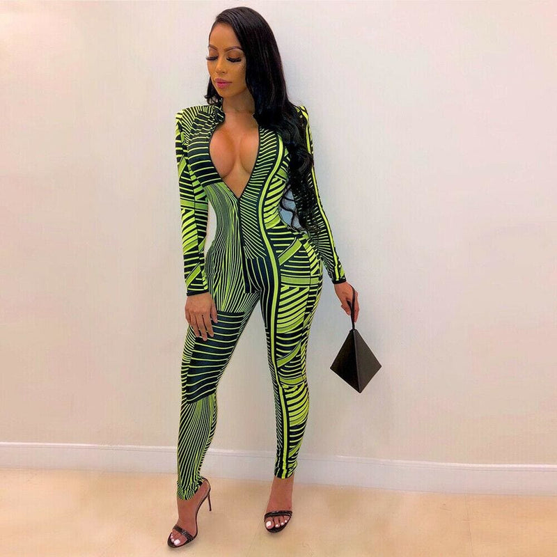 The Best 2019 New Fashion Women's Summer Long Sleeve Sexy Floral Jumpsuit Ladies Casual Zipper Slim Fit Jumpsuit Clubwear Online - Hplify