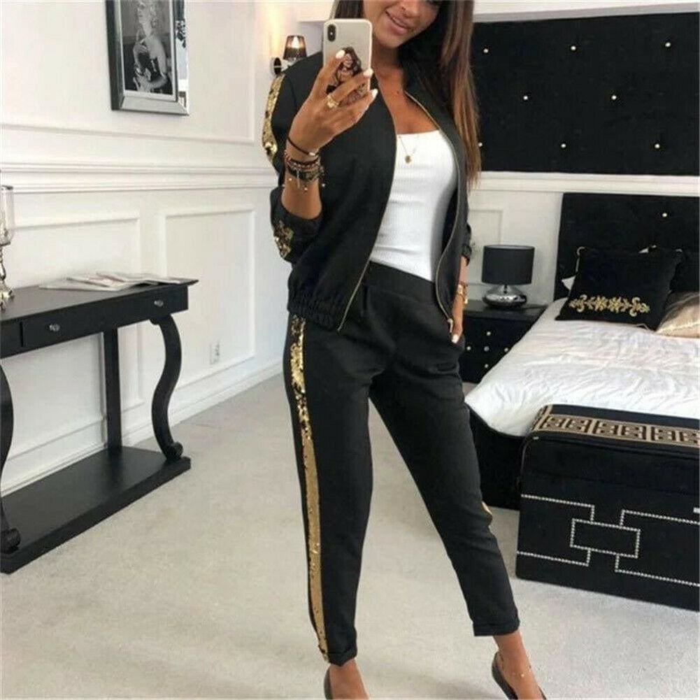2019 New Fashon Autumn Women's Sportswear 2PCS Female Zipper Top Jackets Coat Long Pants Set Outwear Lady Streetwear Clothes - Hplify