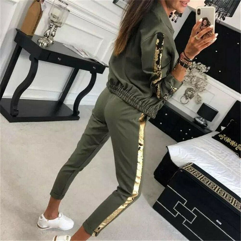 The Best 2019 New Fashon Autumn Women's Sportswear 2PCS Female Zipper Top Jackets Coat Long Pants Set Outwear Lady Streetwear Clothes Online - Hplify